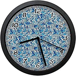 BCWAYGOD Turkish Ceramic Art Swirled Nature Leaves Middle Eastern Design Print Decorative Non-Ticking Wall Clock Silent Home Decor Battery Operated Clock 12 Inch
