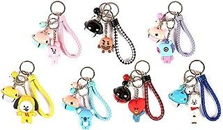 Havenport 7 Pack Kpop BTS Keychain TATA CHIMMY Cooky RJ MANG KOYA SHOOKY Bangtan Boys Key Ring with Bell Pendant(Style 1)