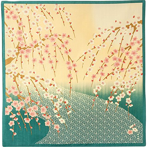 HAMAMONYO Furoshiki Buddhistisches Kreuz und weinender Ume Baum, 50,8 cm, Blau