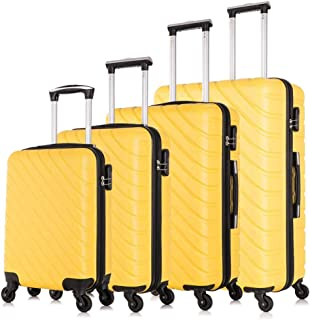 Fridtrip Carry On Luggage with Spinner Wheels Luggage Sets Travel Suitcase Hardshell Lightweight (Yellow, 4 PCS)