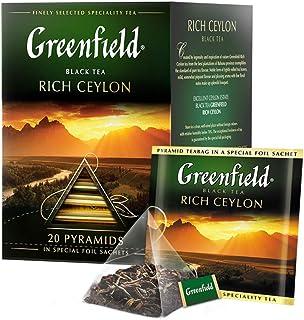 GREENFIELD RICH CEYLON   Prämie Klassisch Schwarzer Tee   Frühstückstee   Breakfast Tea   Premium Pure Black Tea   Sri Lanka   20 Pyramidenbeutel   Leaf Tea   Lose   20 tee beutel, 40g