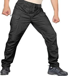 YAYUMI Men's Solid Color Casual Waterproof Pants Outdoor Camping Multi-Pocket Elastic Waist Long Pant Trousers