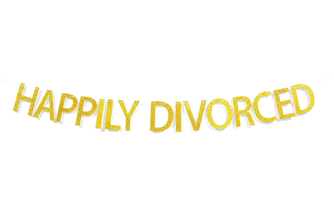 Firefairy? Happily Divorced Gold Glitter Bunting Banner for Divorce Party Photo Booth Props