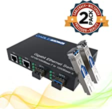 CableRack Gigabit Media Converter Multimode to Singlemode All-in-one (3 Configurations) Fiber Switch with Dual 10/100/1000M Ethernet Ports (2 Pack)