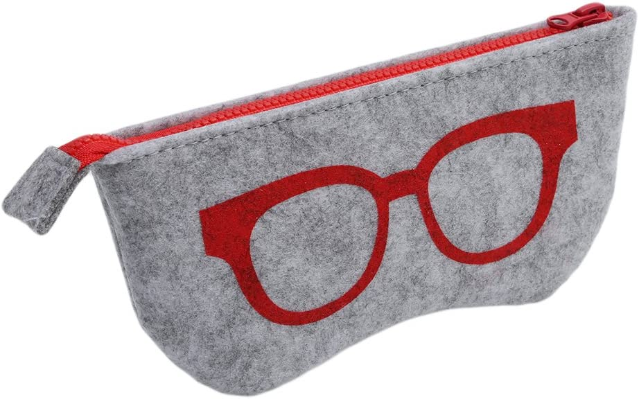 Kshcf Eyeglasses Bag Portable Case Soft Felt Zipper Glasses Purse Multifunction Storage Pouch,red