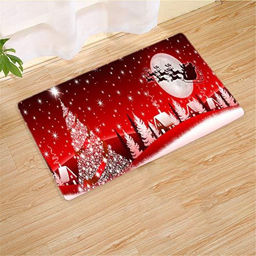 SONGHJ Weihnachten Polyester Teppich Weihnachten Wohnzimmer Matte Küche Schlafzimmer Badezimmer rutschfeste Wildleder Teppich