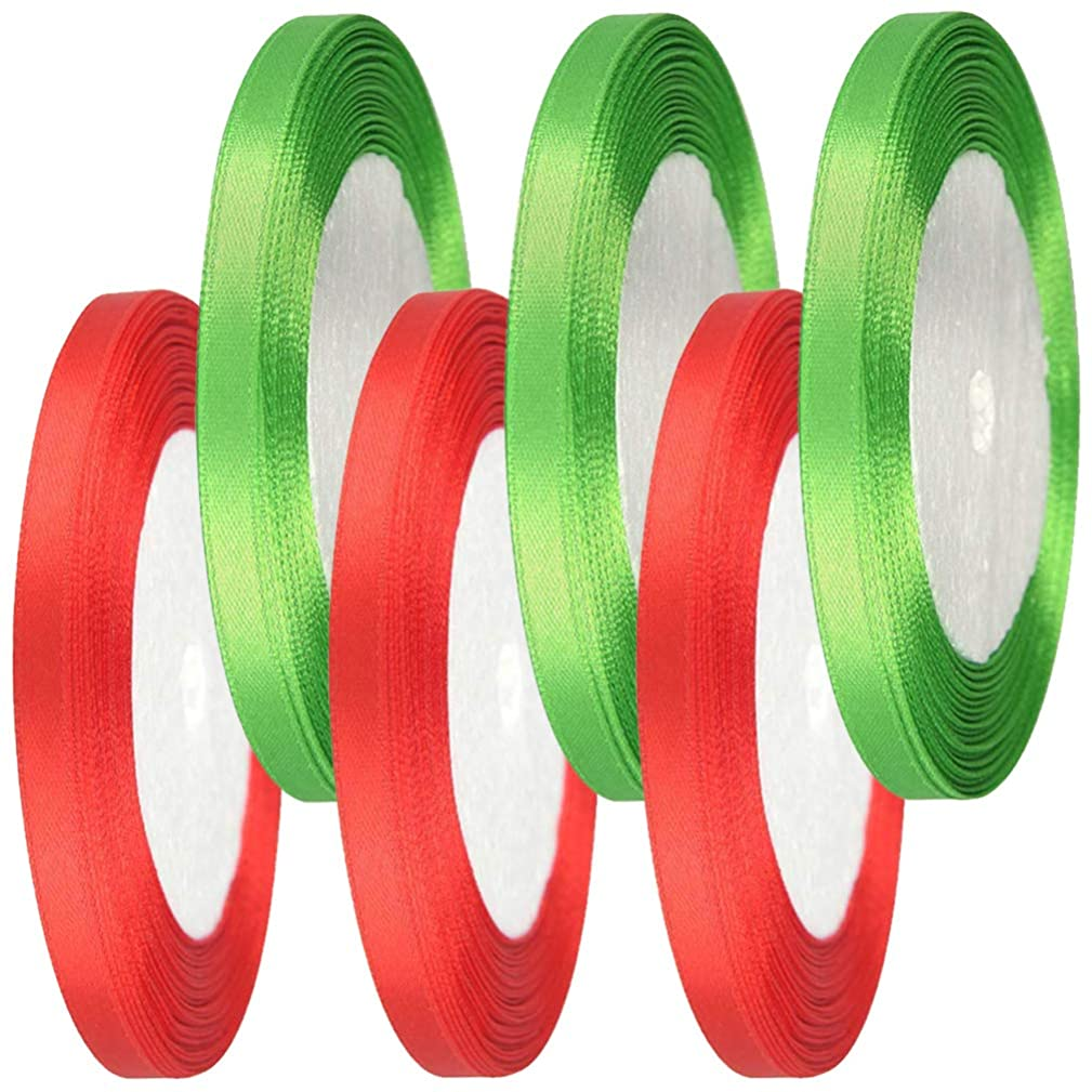 Syolee 150 Yards Satin Ribbon Christmas Gift Wrapping Ribbon Ribbon for DIY Gifts, 10 mm Wide Red and Green
