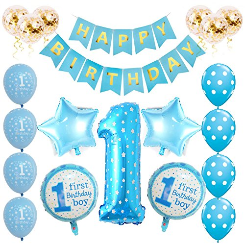 Toupons 1st Birthday Decorations For Baby Boy Blue Happy Banner Latex And Foil Balloons