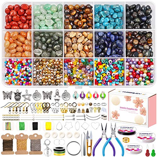 Jewelry Making Supplies Kit,Amorphous Natural Oval Stone Gemstone Loose Beads Crystal Rocks with Earring Hooks Jump Rings Lobster Clasp Elastic String Pliers for Bracelets Earring Necklace Making