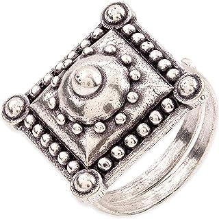 Voylla Rava Ball Square Statement Ring for Women