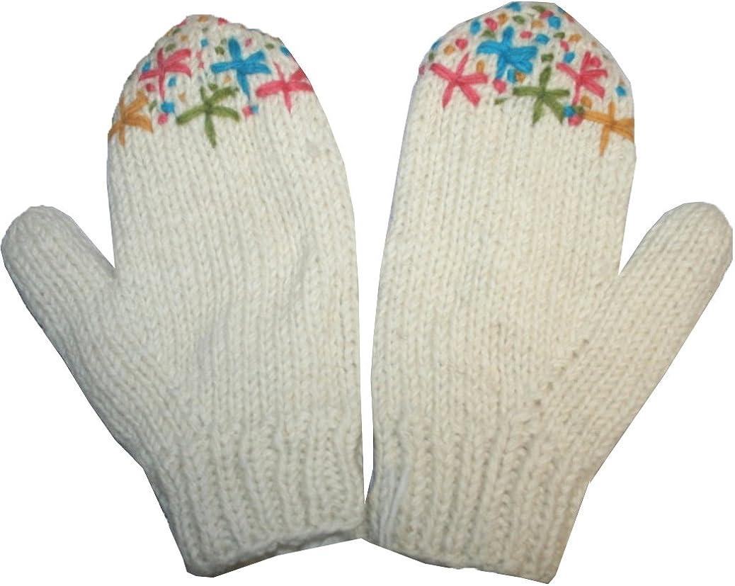 618 MT Warm Cozy Fleece Lined Ski Wool Unisex Women Hand Knitted Mitten
