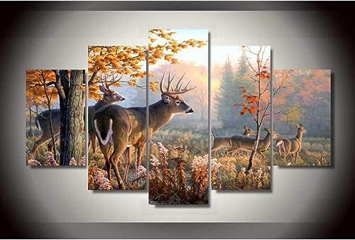 tienda en linea YHEGV Impresiones en Lienzo 5 Paneles Forest Forest Forest Wonderland Animal Deers Imagen de Arte de la Parojo Decoración del hogar Sala de Estar Impresión en Lienzo Impresión de Foto en la Parojo sobre Lienzo  precios mas bajos