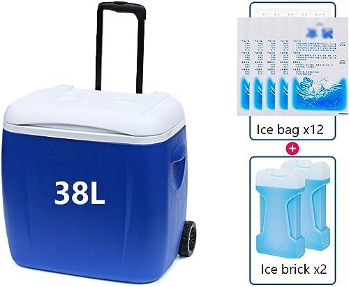 L insulated Box Voiture GlacièRe Boîte D'Isolation avec PoignéE, 5l   8l   13l   38l   45l CapaCôté pour Voyage Camping en Plein Air PêChe Plage Barbecues, Bleu (Envoyer Pack De Glace)