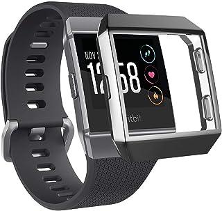 Creatlove TPUケースとの互換性 Fitbit Ionicスクリーンプロテクターケース、Fitbit Ionicスマートウォッチ用の耐スクラッチフレキシブルで軽量な編組TPUフルボディ保護ケース (ionic, ブラック)