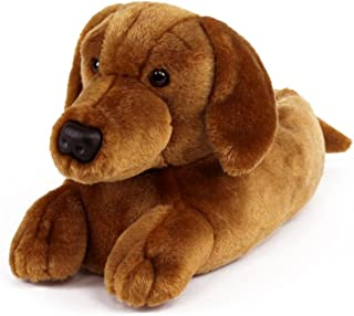 Dachshund Slippers - Plush Dog Animal Slippers Brown