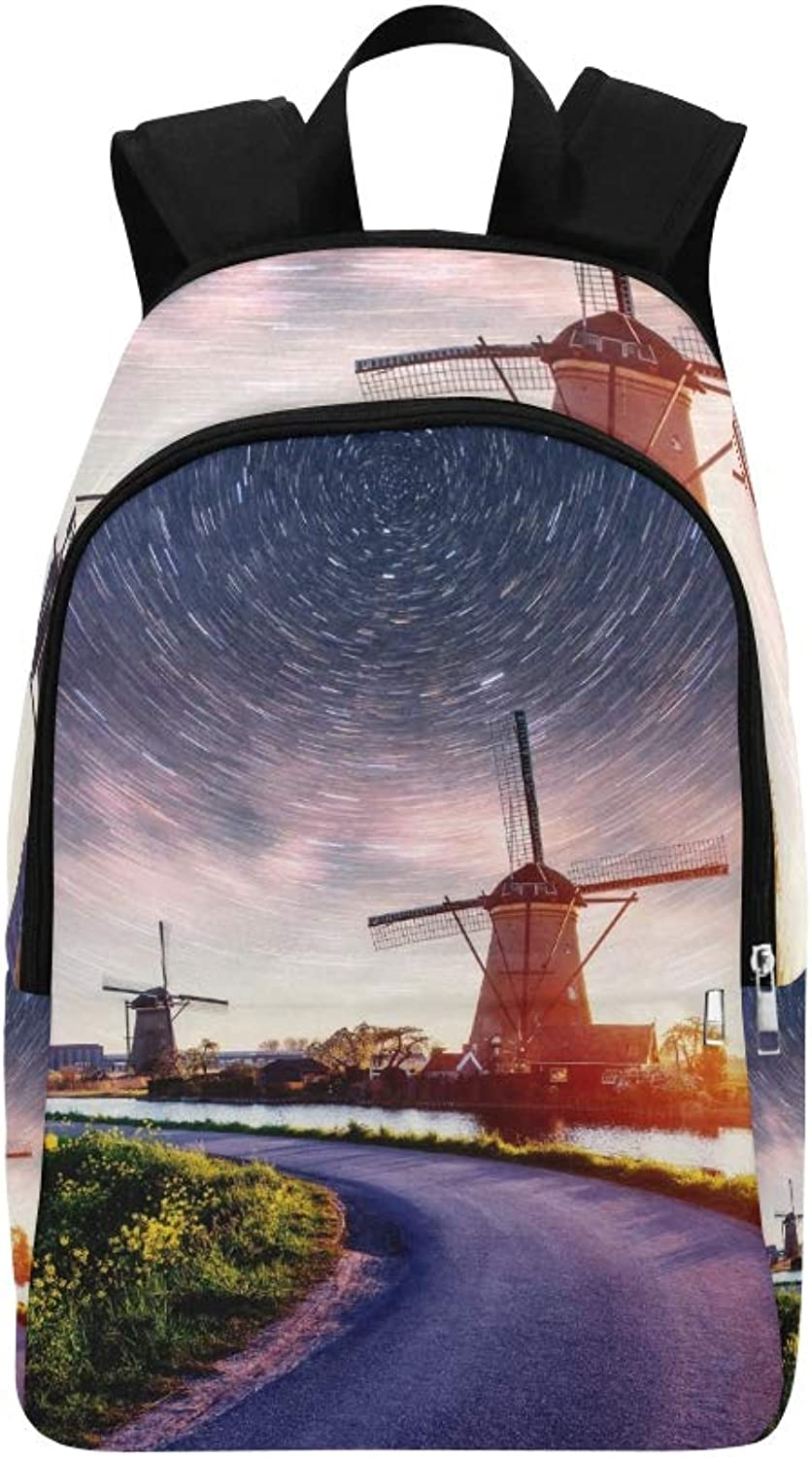 colorful Spring Night Traditional Dutch Windmills Casual Daypack Travel Bag College School Backpack for Mens and Women