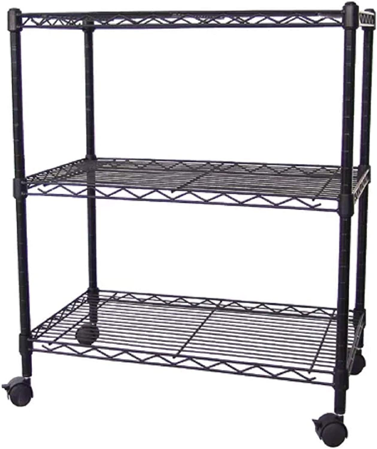 Open Kitchen Shelving. Multi-Purpose 3-Tier Wire Unit Casters, 24 in. X 14 in. X 28 in, Black Open Kitchen Shelving