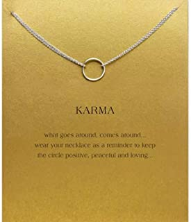 Timetries Clavicle Necklace with Message Card Pendant Necklace Choker for Women Jewelry Accessories Gifts Circle Plated Si...