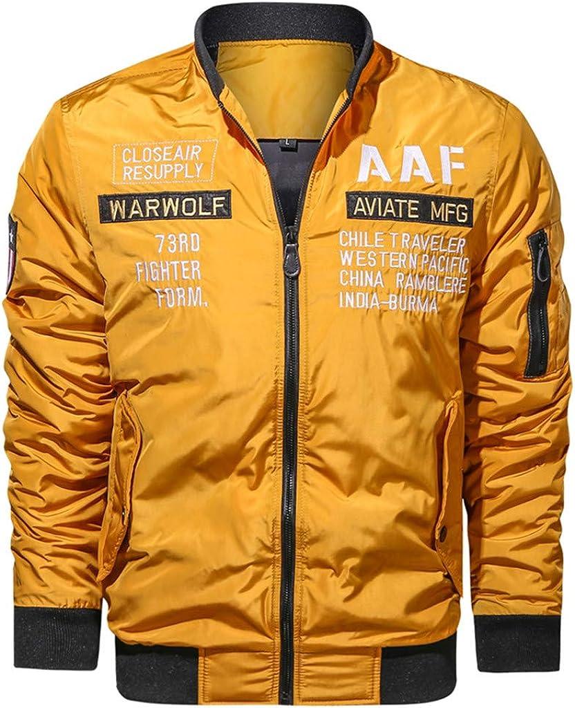 NREALY Men Autumn Winter Outwear Pure Color Zipper Jacket Coat
