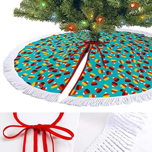 KAZOGU Candy Corn Blue Christmas Tree Skirt for Party Holiday Decor Tassel Trim Large Xmas Tree Skirts