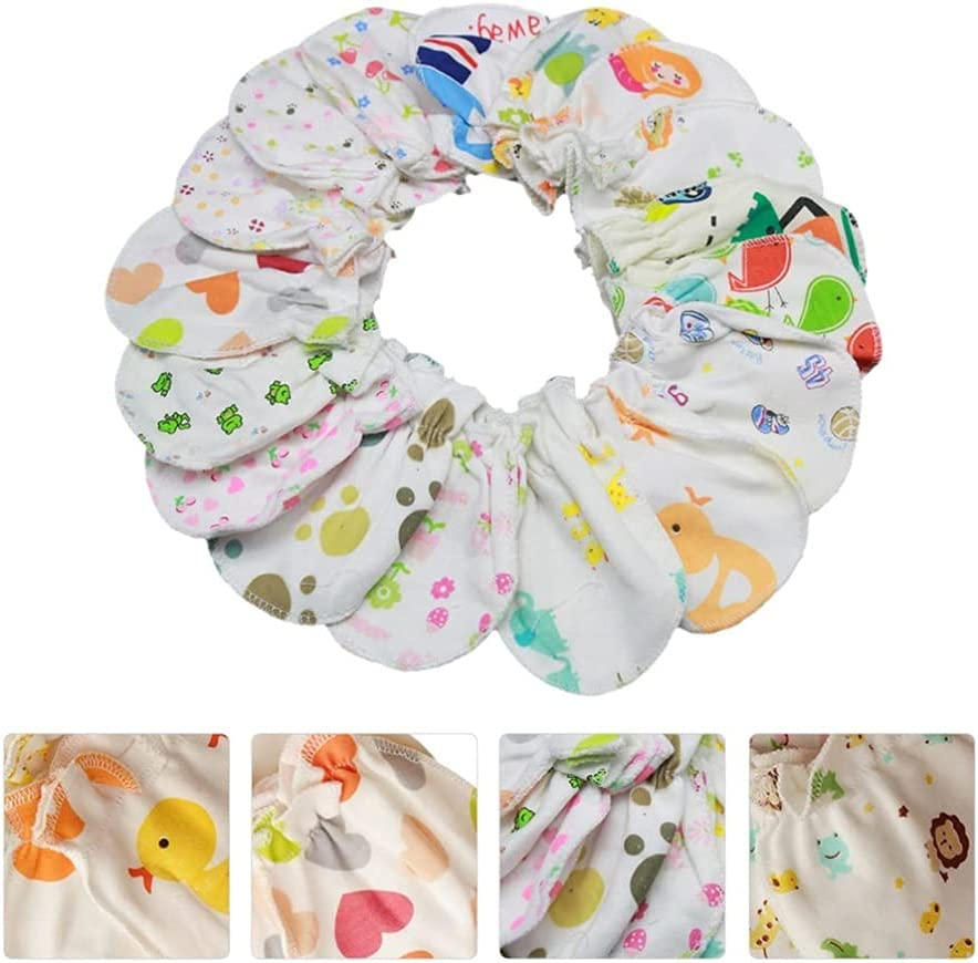 LIXBD 20 Pairs Newborn Baby Mittens Cotton Anti- Scratch Baby Mitten Baby Gloves Face Protection Glove for Infant Boys Girls
