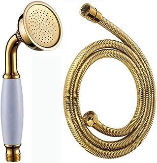 銅メッキCハンドヘルドシャワーヘッドホースセット、蛇口シャワーホースセット、ヨーロッパアンティークレインシャワーヘッドセット (ゴールド)