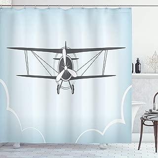 Lunarable Vintage Airplane Shower Curtain, Retro Aviation Themed Illustration on a Blue Toned Backdrop, Cloth Fabric Bathroom Decor Set with Hooks, 70
