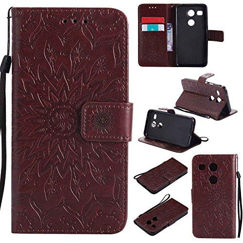 pinlu® PU Leder Tasche Etui Schutzhülle für LG Nexus 5X (5,2 Zoll) Lederhülle Schale Flip Cover Tasche mit Standfunktion Sonnenblume Muster Hülle (Braun)