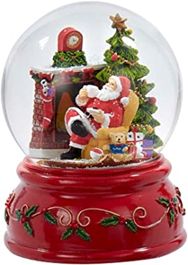 Kurt Adler Fireplace Sitting Santa Claus 100MM Resin Christmas Water Snow Globe Plays Holiday Song
