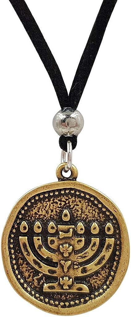 Treasure4U-Store 7 Branch Menorah Necklace for Men Adjustable Black Rope Israel Pendant Jerusalem Jewelry Holy Land Gift