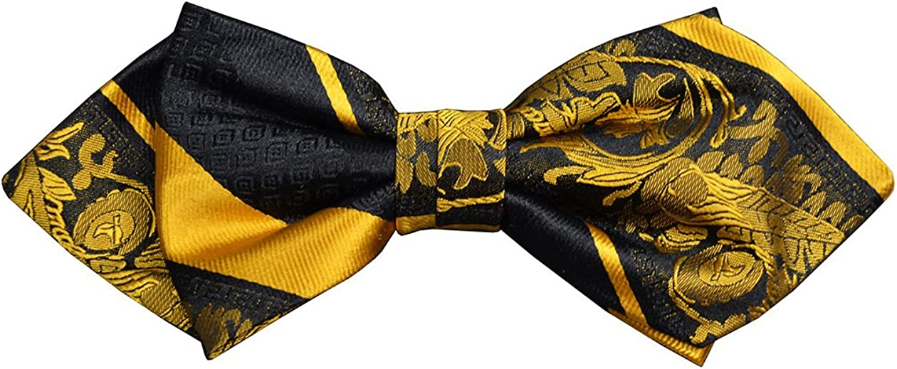 Paul Malone Silk Bow Tie Gold and Black