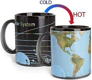 Heat Changing Mug Earth map Color Changing Magic Coffee Mug Heat Sensitive Porcelain Tea Cup Xmas Funny Gifts(10 OZ)