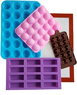 Keto Life Silicone Fat Bomb Molds Kit- Includes Baking Mat, Mini Muffin Mold, Protein Bar Mold, Fat Bomb Semi Circle Mold, and Star Bulletproof Coffee Pod Mold for Keto Diet Weight Loss and Meal Prep