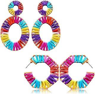 2 Pairs Rattan Earrings for Women Bohemian Geometric Statement Earrings Handmade Straw Wicker Braid Rhombus Hoop Drop Dangle Earrings