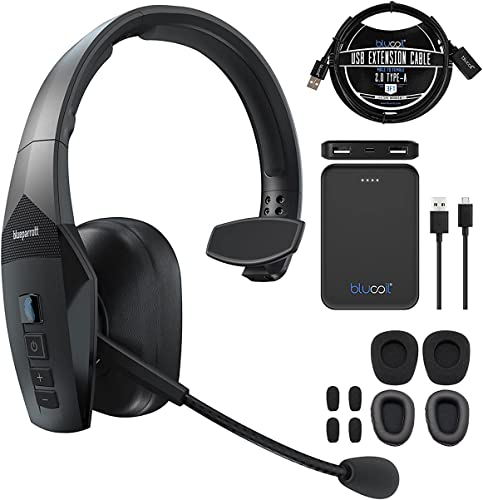 new arrival BlueParrott B550-XT Voice Controlled Bluetooth Headset for iOS and Android Bundle with Blucoil discount 5000mAh Portable Power Bank, 3-FT USB 2.0 Type-A Extension Cable, Replacement Ear outlet sale Pads and Windscreens online