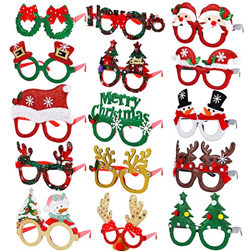 Elcoho 15 Pieces Christmas Glitter Party Glasses Frame Creative Funny Eyewear Snowman Glasses Reindeer Eyeglasses Assorted Styles for Christmas Party and Holiday Favors