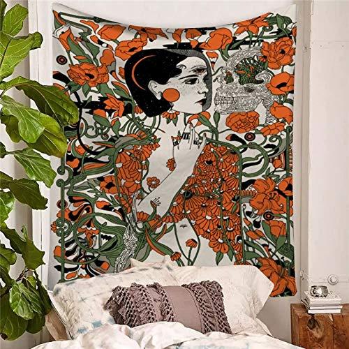 WERT Chica de jardín y Calavera Tapiz psicodélico Colgante de Pared Decoración para el hogar Pintura de Fondo Arte 3D Manta de Picnic de Playa Colorida A3 200x150cm