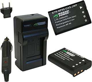 Wasabi Power Battery (2-Pack) and Charger for Casio NP-90 and Casio Exilim EX-FH100, EX-H10, EX-H15, EX-H20G