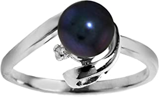 Galaxy Gold 14k Solid White Gold Ring with Natural 1.01 Carat Black Pearl and Diamond