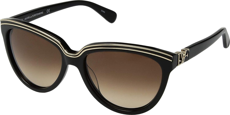 Diane Von Furstenberg Womens Mila gold Contrast Cat Eye Sunglasses Black O S