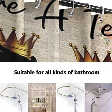 LUCKY&DONG African American Shower Curtain Black King and King Lovers Couple Shower Curtain Black Art Polyester Waterproo