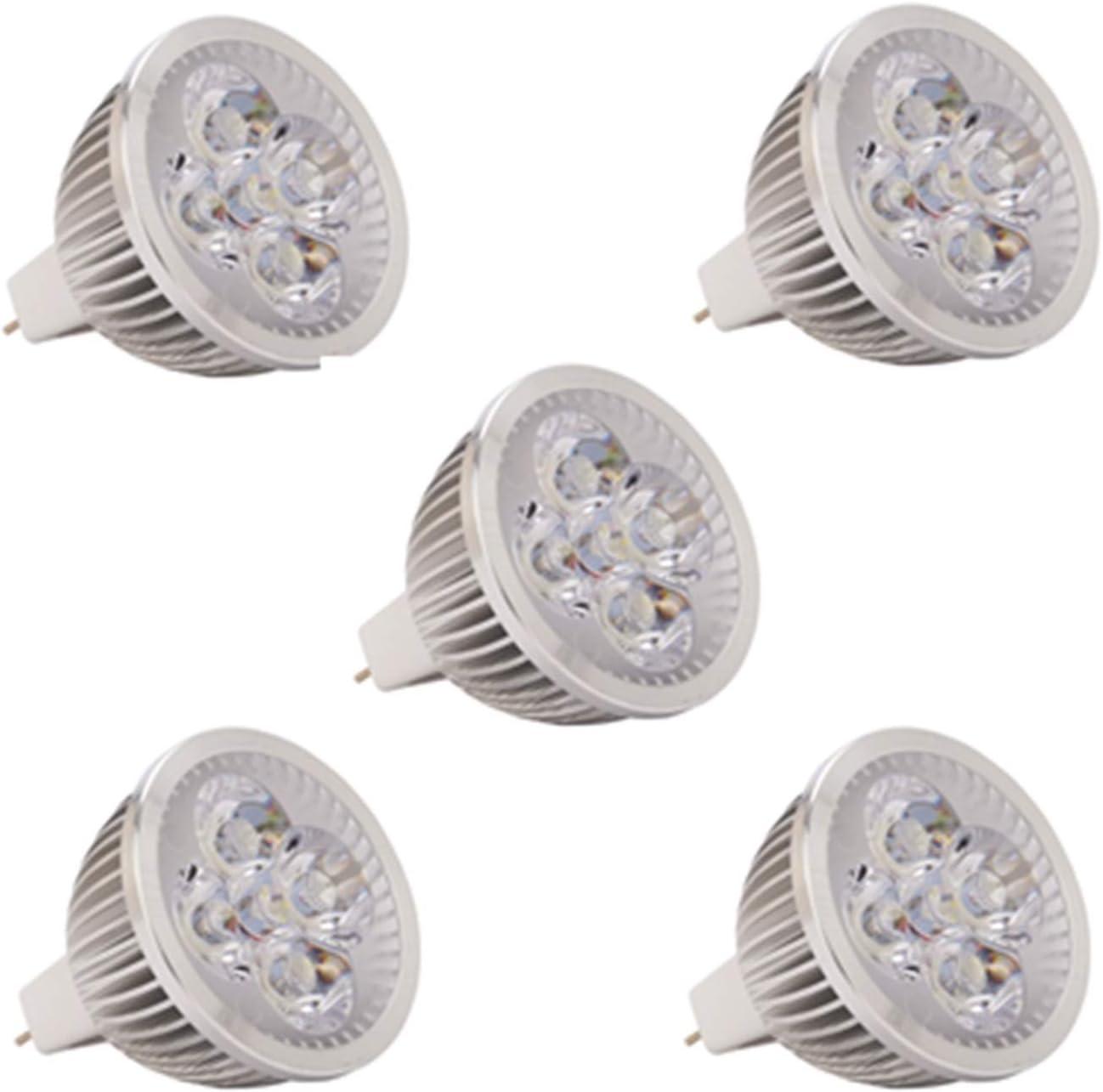 Bombillas Bombillas LED MR16, AC/DC 24V 36V 4W, 350-400lm, ángulo de haz de 60 °, equivalente de halógeno de 30W [Clase energética A +] 5 piezas Equivalente (Color : Warm white)