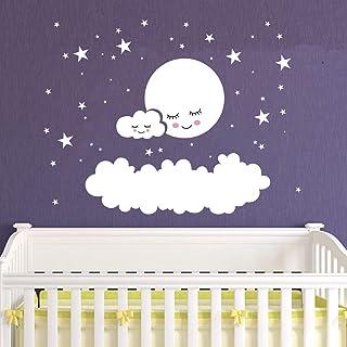 Kids Room Decor Big Clouds Moon Stars Wall Stickers Sweet Smile Moon Nursery Room Bedroom Wall Mural Art Vinyl Wall Decor ...