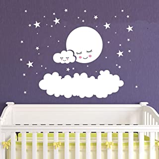 Kids Room Decor Big Clouds Moon Stars Wall Stickers Sweet Smile Moon Nursery Room Bedroom Wall Mural Art Vinyl Wall Decor Stickers LY1385(White)