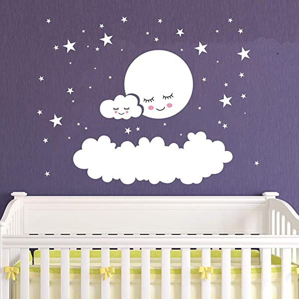 Kids Room Decor Big Clouds Moon Stars Wall Stickers Sweet Smile Moon Nursery Room Bedroom Wall Mural Art Vinyl Wall Decor Stickers LY1385 White