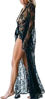 Reooly Ropa Interior Nueva para Mujer Vestido Largo de Encaje Sexy con Perspectiva Transparente Vestido Kimono Robe