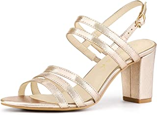 Allegra K Women's Open Toe Block High Heels Ankle Strap Sandals