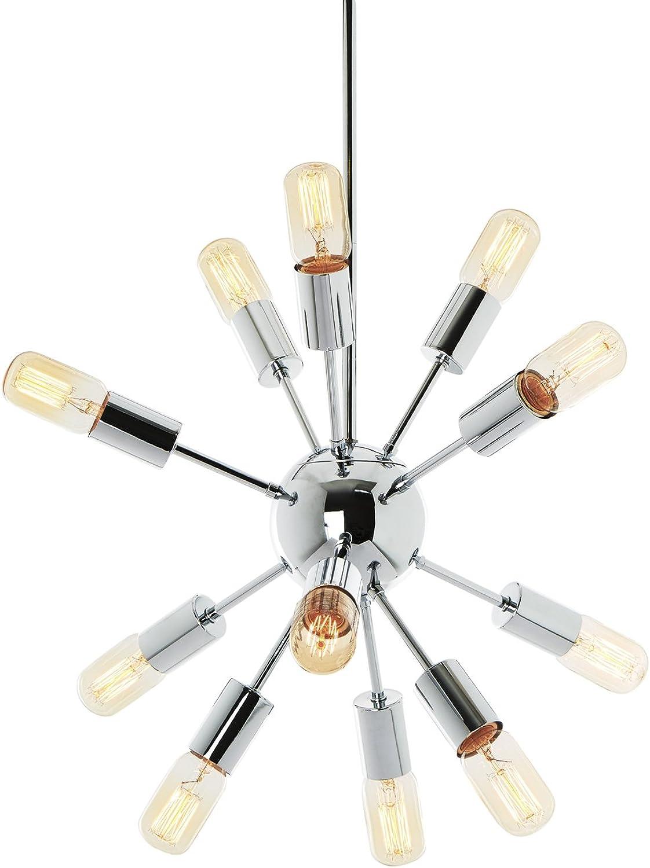 Modern Sputnik Pendant Lighting Chrome - 12 Light Chandelier, Mid-Century Fixture- ETL Listed