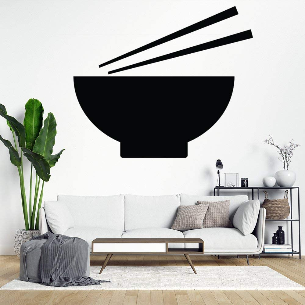 Amazon Com No Branded Wall Decals Multi Color Ramen Bowl With Chopsticks Black Wall Stickers Girls Wall Art Stickers For Bedroom Stick Kids Room Decor Nursery Toddler Teen Decorations Playroom Birthday Gift Home