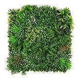 ULAND ウォールグリーン 壁面緑化 フェイクグリーン 人工 観葉 植物 マット 壁掛け 造花 ミックス リーフ ラベンダー 緑 店舗装飾 芝生 インテリア (B052)